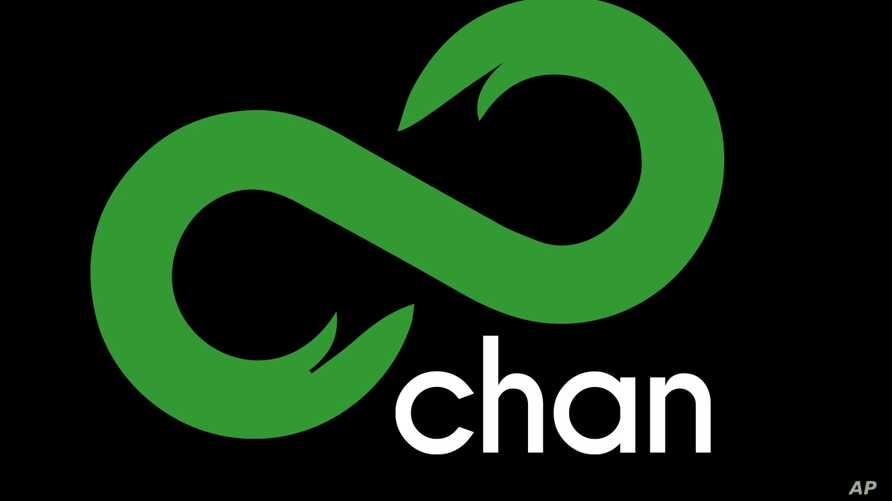 8chan logo, anonymous online forum, graphic element on black