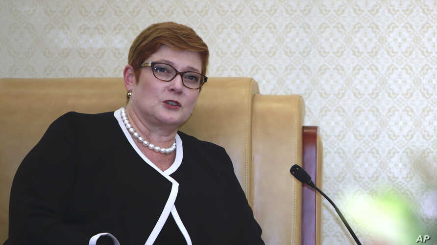 Australian Foreign Minister Marise Payne speaks during a meeting with Vietnamese Defence Minister Ngo Xuan Lich, not pictured, in Hanoi, Vietnam on June 12, 2019. Payne is on a two-day visit to Hanoi to discuss bilateral relations with the southeast…
