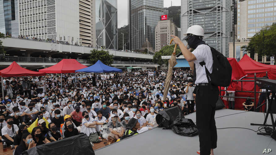 A protester shares his story during continued pro-democracy rallies in Hong Kong, on Monday, Sept. 2, 2019. Hong Kong has been the scene of tense anti-government protests for nearly three months. The demonstrations began in response to a proposed…