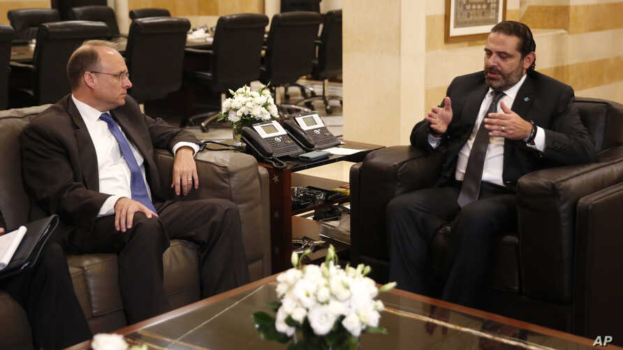 Treasury Assistant Secretary for Terrorist Financing, Marshall Billingslea, left, meets with Lebanese Prime Minister Saad Hariri, in Beirut, Lebanon, Monday, Sept. 23, 2019. Billingslea met Monday with the prime minister, parliament speaker and the…