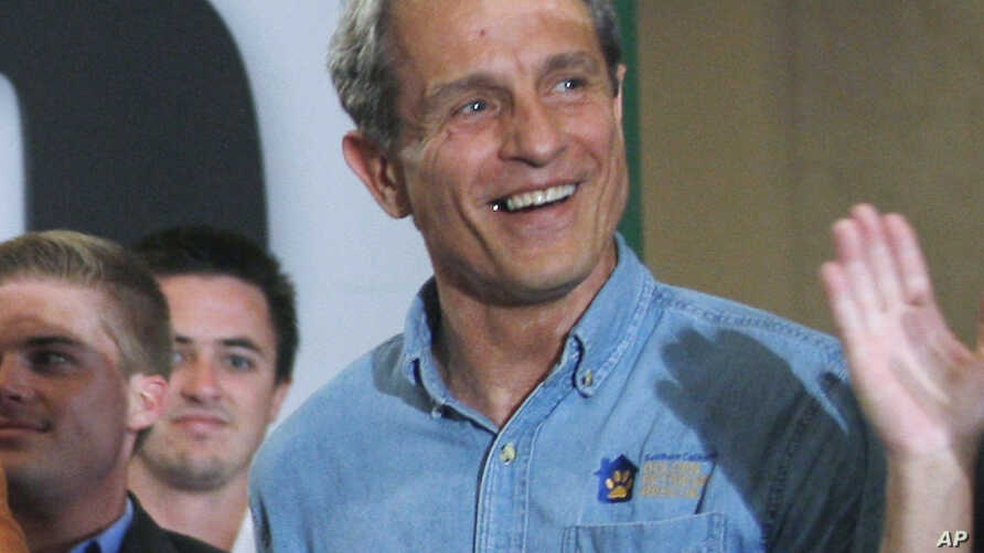 FILE - In this Sept. 22, 2010 file photo Ed Buck makes a campaign appearance for Meg Whitman, not shown, then a Republican candidate for governor of California, in Los Angeles. The prominent California Democratic donor, Buck, has been charged…