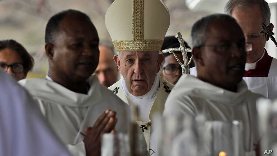 Pope Francis arrives to celebrate Mass at the Monument Mary Queen of Peace, in Port Louis, Mauritius, Monday, Sept. 9, 2019. Francis has arrived in the Indian Ocean nation of Mauritius to celebrate its diversity, encourage its ethical development…