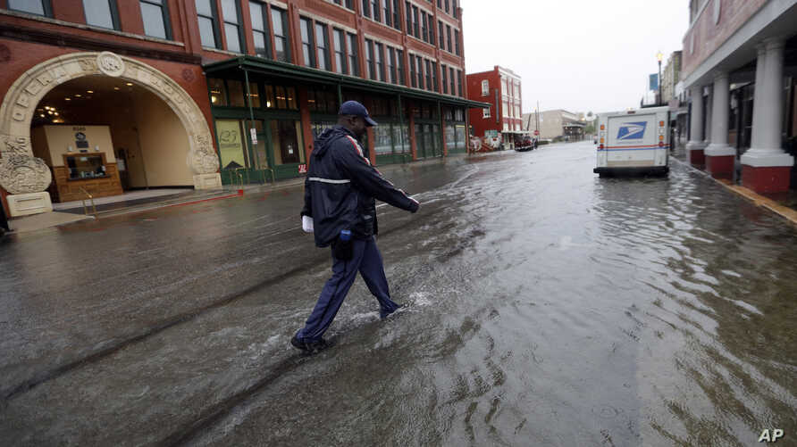 A postman walks through the flooded streets from Tropical Depression Imelda as he deliver mail Wednesday, Sept. 18, 2019, in Galveston, Texas. (AP Photo/David J. Phillip)