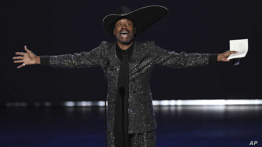 "Billy Porter accepts the award for outstanding lead actor in a drama series for ""Pose"" at the 71st Primetime Emmy Awards on Sunday, Sept. 22, 2019, at the Microsoft Theater in Los Angeles. (Photo by Chris Pizzello/Invision/AP)"
