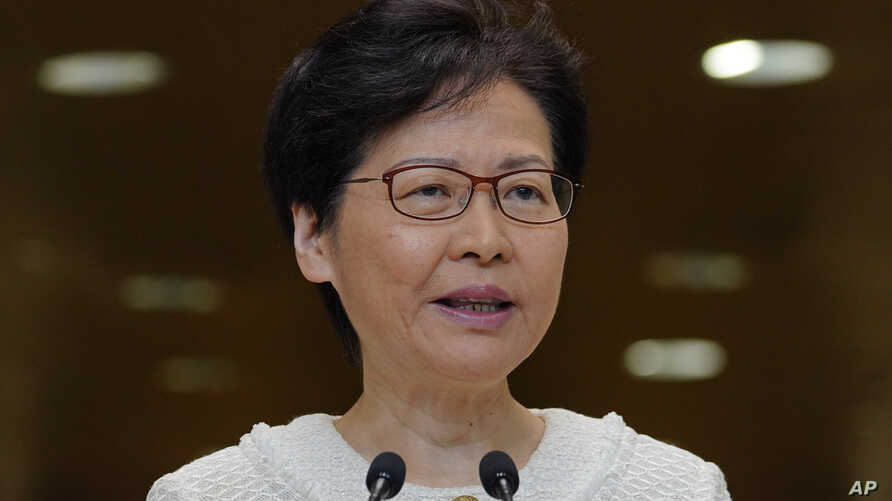 Hong Kong Chief Executive Carrie Lam, talks during a press conference at the government building in Hong Kong, Sept. 10, 2019.
