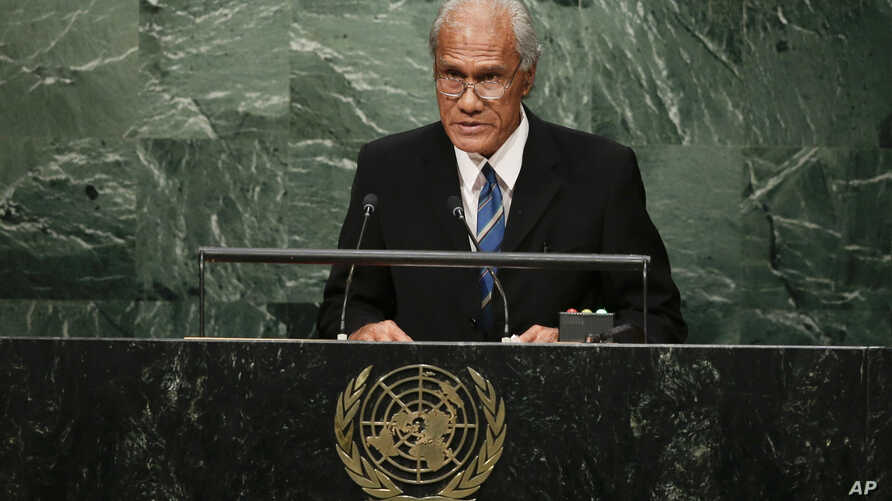 FILE - In this Sept. 26, 2015, file photo, Tongan Prime Minister 'Akilisi Pohiva addresses the 2015 Sustainable Development Summit at the United Nations headquarters in New York. Pohiva, who is credited with helping bring democracy to the small…