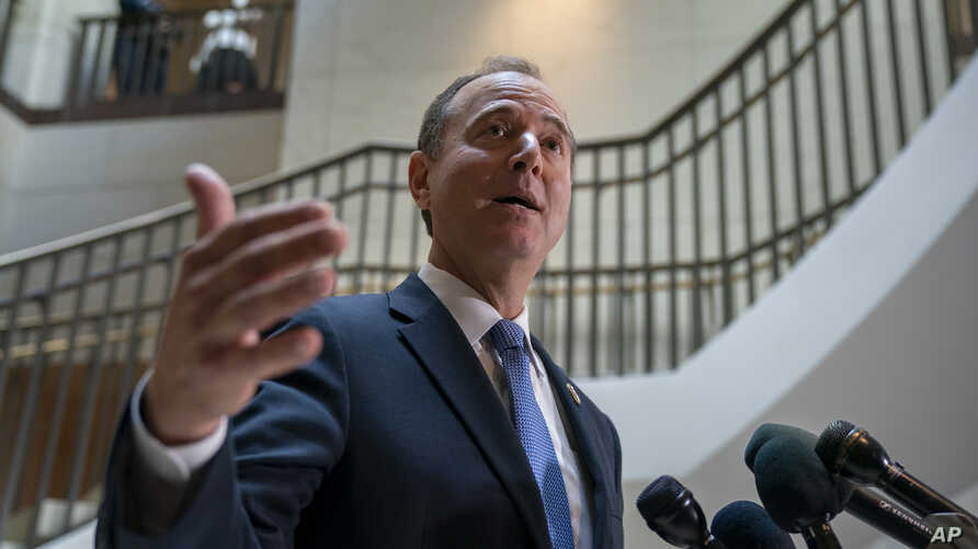 Rep. Adam Schiff, D-Calif., chairman of the House Intelligence Committee, speaks with reporters about a whistleblower complaint Thursday, Sept. 19, 2019, on Capitol Hill in Washington. Schiff says he cannot confirm a press report that said a…