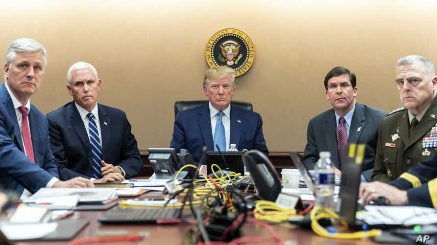 President Donald Trump and Vice President Mike Pence in the situation room