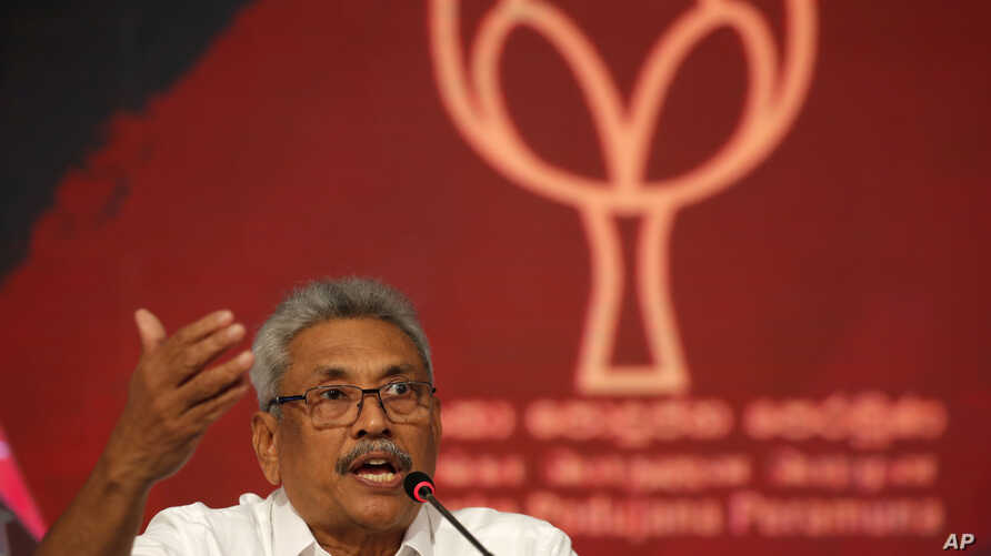 Sri Lankan presidential candidate and former defense chief Gotabaya Rajapaksa speaks during a news conference in Colombo, Sri…