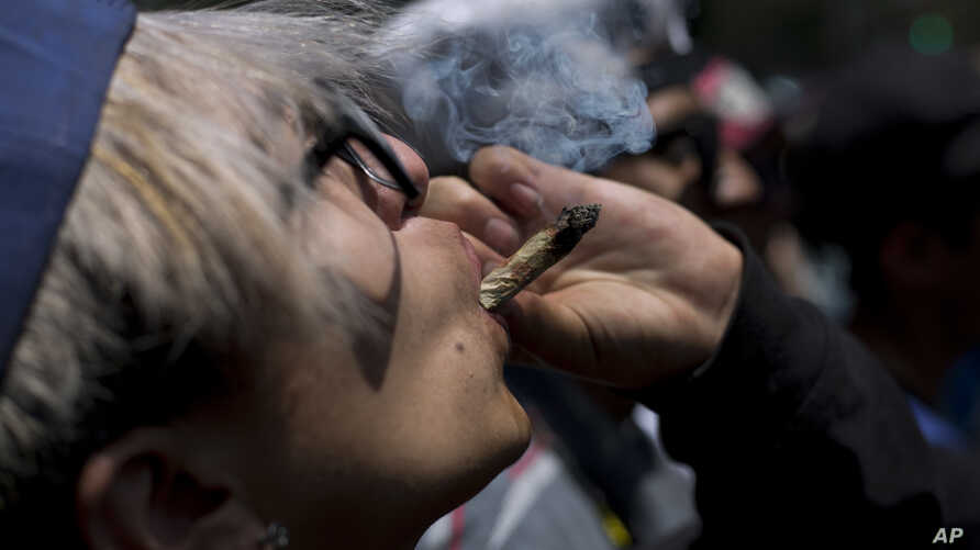 A young man smokes marijuana to celebrate the International Day for Cannabis in Mexico City, Friday, April 20, 2018. Thousands…
