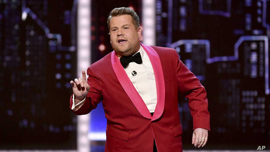 Host James Corden speaks at the 73rd annual Tony Awards at Radio City Music Hall on Sunday, June 9, 2019, in New York. (Photo…