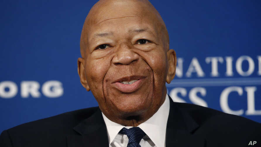 FILE - In this Aug. 7, 2019, file photo, Rep. Elijah Cummings, D-Md., speaks during a luncheon at the National Press Club in…