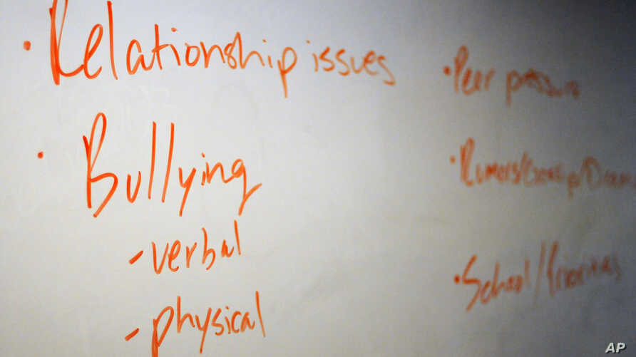 In this Nov. 15, 2018 photo, the board in a classroom is shown with key words during a Youth Aware of Mental Health session at…