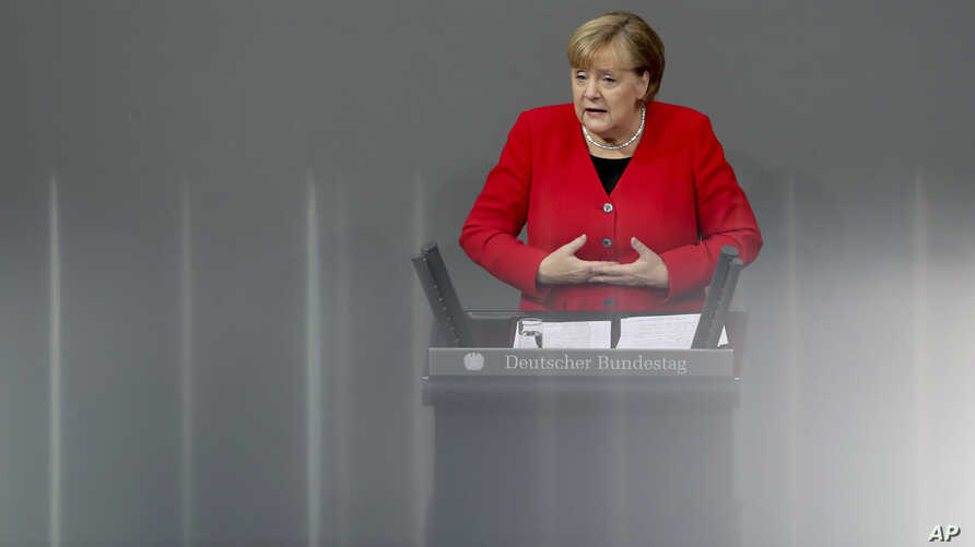 German Chancellor Angela Merkel delivers a speech during a meeting about the budget 2020 of the German federal parliament,…