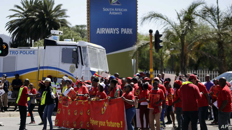 South African Cabin Crew Association and the National Union of Metalworkers members protest at the SAA Airways Park in Kempton…