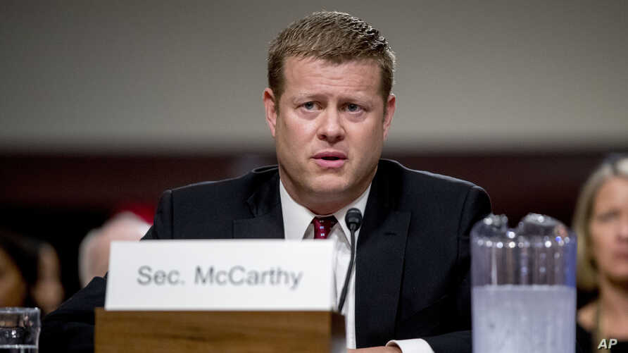 Ryan McCarthy, the nominee to the Secretary of the Army, speaks during his Senate Armed Services Committee confirmation hearing…