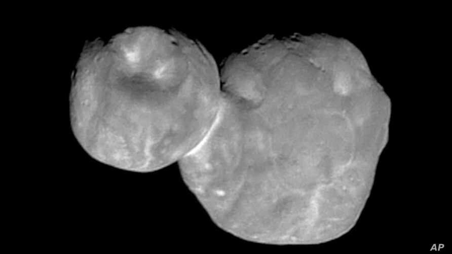 """FILE - This Tuesday, Jan. 1, 2019 image made available by NASA shows the Kuiper belt object originally called """"Ultima Thule,""""…"""