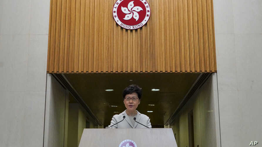 Hong Kong Chief Executive Carrie Lam speaks during a press conference in Hong Kong, Tuesday, Nov. 26, 2019. Lam has refused to…
