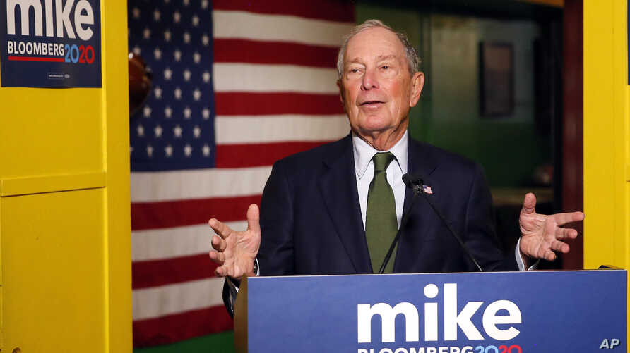 FILE - In this Nov. 26, 2019, file photo, Democratic presidential candidate Michael Bloomberg speaks to the media in Phoenix…