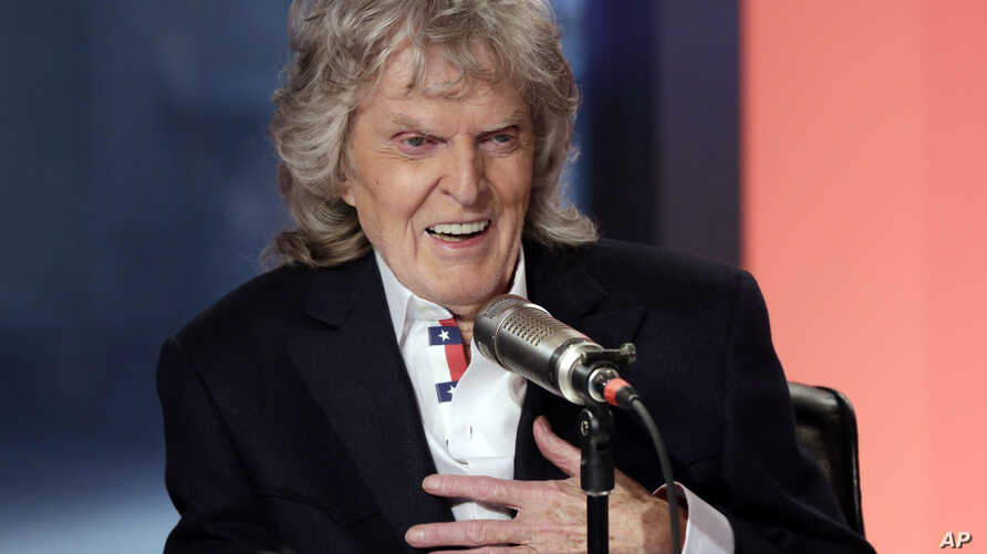 """FILE - In this May 29, 2015 file photo, cable television and radio personality Don Imus appears on his last """"Imus in the…"""
