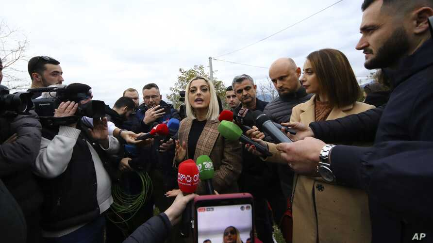 U.S. singer and songwriter Bebe Rexha makes statements during her visit to Bubq village about 30 kilometers (18 miles) west of…
