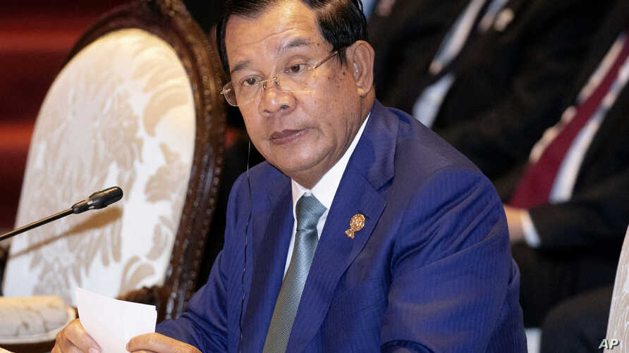 FILE - In this Nov. 3, 2019, file photo, Cambodia's Prime Minister Hun Sen participates in ASEAN-U.N. summit in Nonthaburi,…