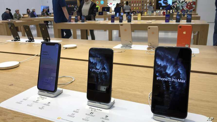 A selection of iPhones are displayed an Apple store Tuesday, Jan. 28, 2020, in suburban Boston. Apple reports financial earns…