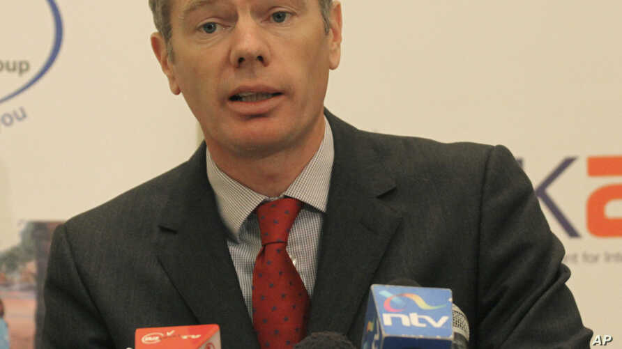 British High Commissioner to Kenya, Rob Macaire, speak during joint press conference  in Nairobi, Kenya, Wednesday, Dec. 15 ,…