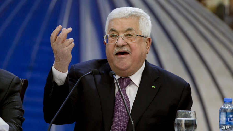Palestinian President Mahmoud Abbas speaks after a meeting of the Palestinian leadership in the West Bank city of Ramallah…