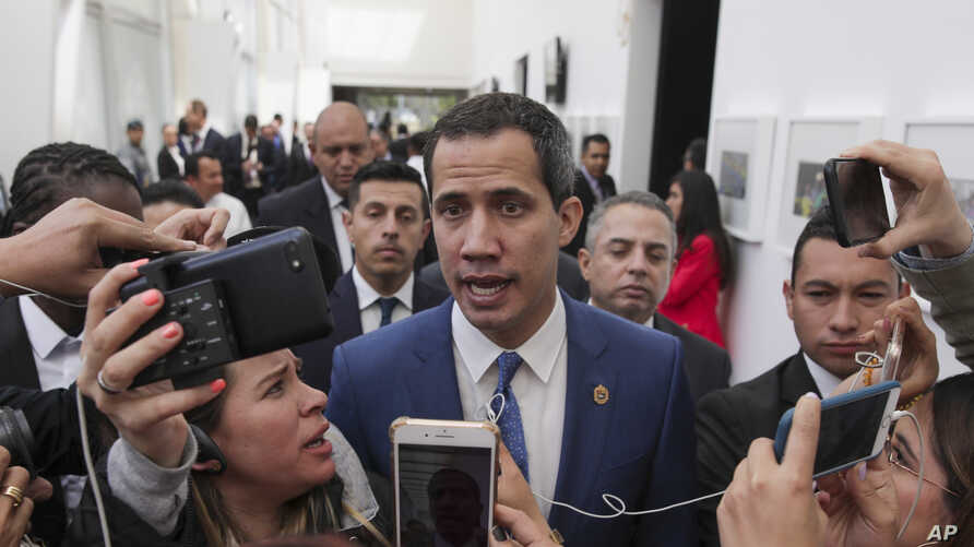 Venezuela's opposition leader Juan Guaido speaks to journalists during a regional counter-terrorism meeting at the police…
