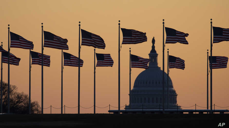 American flags blow in wind around the Washington Monument with the U.S. Capitol in the background at sunrise on Monday, Jan…