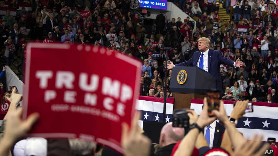 President Donald Trump speaks during a campaign rally at UW-Milwaukee Panther Arena, Tuesday, Jan. 14, 2020, in Milwaukee. (AP…