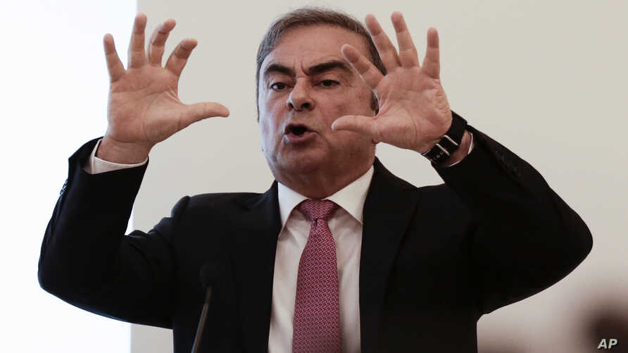 Nissan's former chairman Carlos Ghosn speaks at a press conference in Beirut, Lebanon, Wednesday, Jan. 8, 2020. (AP Photo/Maya…