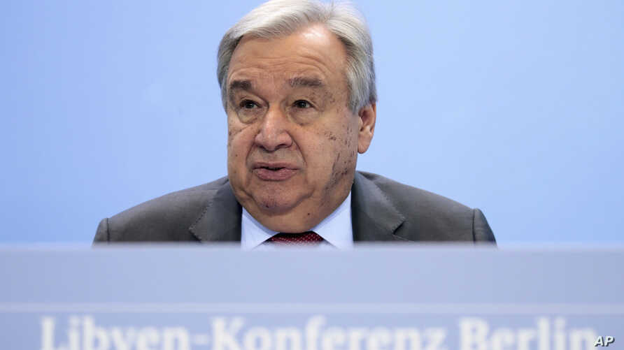 United Nations Secretary-General Antonio Guterres speaks during a news conference after the conference on Libya at the…