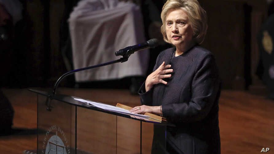 Former Secretary of State Hillary Clinton speaks during funeral services for Rep. Elijah Cummings, Friday, Oct. 25, 2019, in…