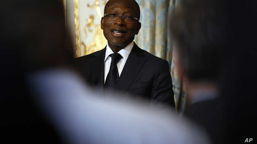 Benin president Patrice Talon holds a press conference after a meeting at the Elysee Palace in Paris, Monday, March 5, 2018. …