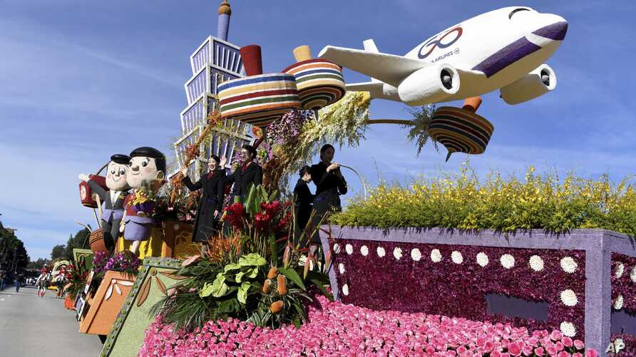 The China Airlines float wins the International Award at the 131st Rose Parade in Pasadena, Calif., Wednesday, Jan. 1, 2020. …