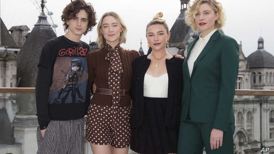 Actors, from left, Timothee Chalamet, Saoirse Ronan, Florence Pugh and director Greta Gerwig, pose for photographers at the…