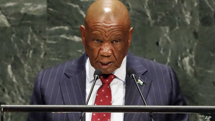 FILE — In this Friday, Sept. 27, 2019, file photo Lesotho's Prime Minister Thomas Motsoahae Thabane addresses the 74th session…