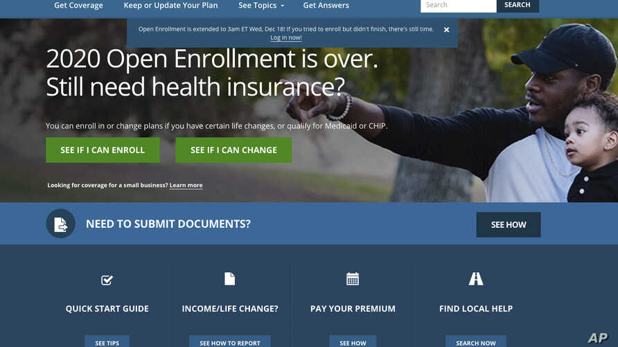 This screen grab from the website HealthCare.gov shows the extended deadline for signing up for health care coverage for 2020…