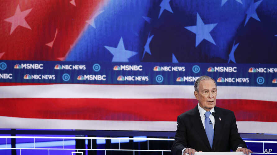 Democratic presidential candidates, former New York City Mayor Mike Bloomberg speaks during a Democratic presidential primary…