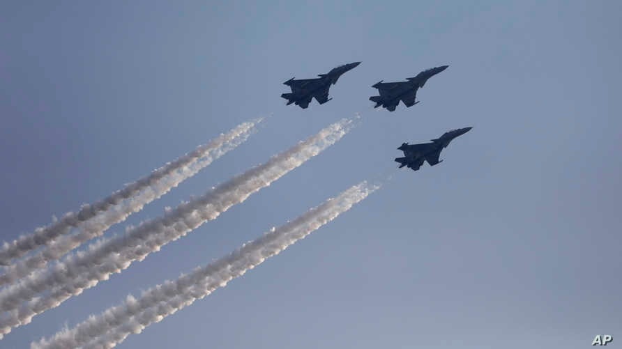 Indian Air Force Mirage fighters perform at the DefExpo in Lucknow, India, Wednesday, Feb. 5, 2020. More than 150 countries are…