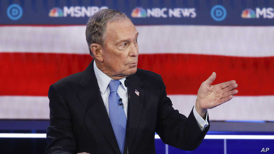 Democratic presidential candidate, former New York City Mayor Mike Bloomberg speaks during a Democratic presidential primary…
