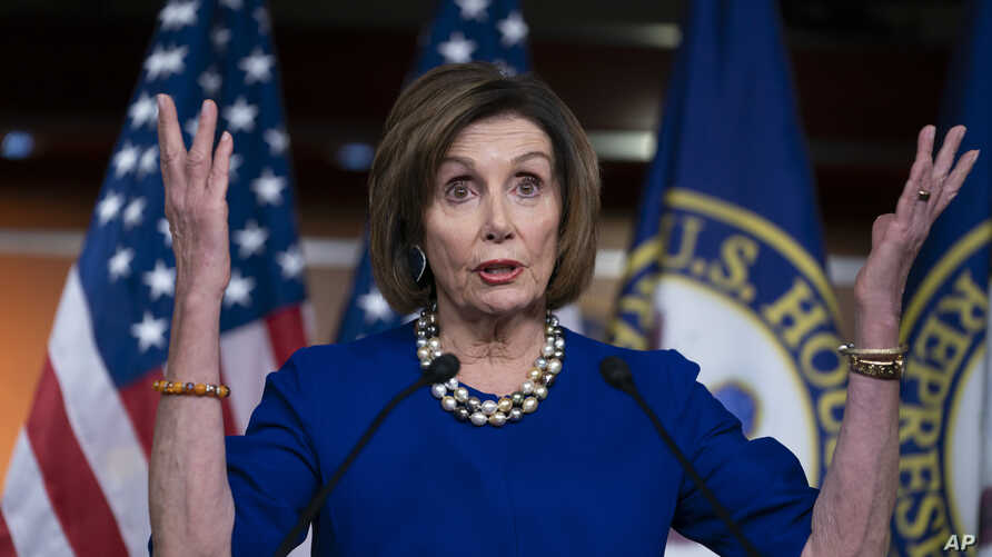 Speaker of the House Nancy Pelosi, D-Calif., holds a news conference the morning after the impeachment of President Donald…