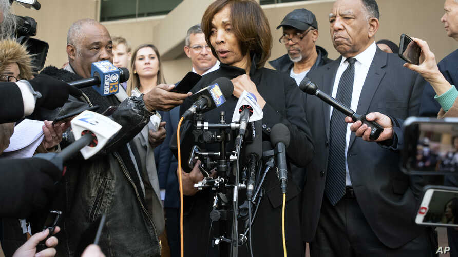 Former Baltimore mayor Catherine Pugh speaks to reporters after her sentencing hearing at U.S. District Court in Baltimore on…