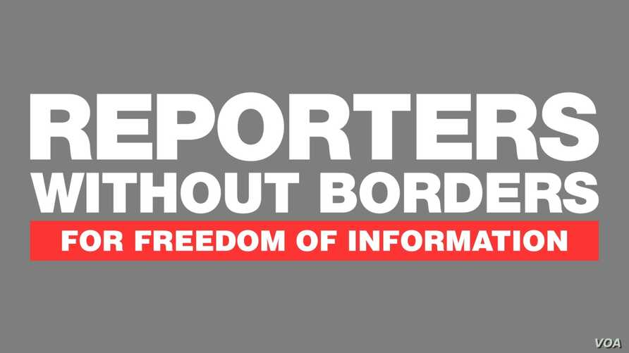 REPORTERS WITHOUT BORDERS, for Freedom of Infomation logo, international organization for press freedom, graphic element on gray