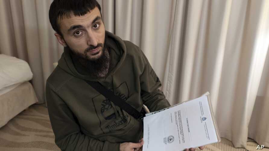 FILE - In this file photo taken on Wednesday, Nov. 14, 2018, Tumso Abdurakhmanov, the 32-year-old Chechen video blogger, and…