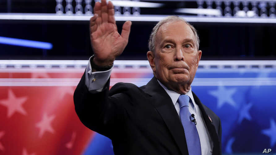 Democratic presidential candidates, former New York City Mayor Mike Bloomberg arrives for a Democratic presidential primary…