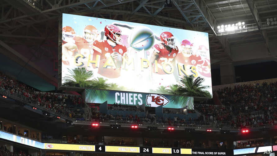 The scoreboard displays an image celebrating the Kansas City Chiefs as Super Bowl champions after the NFL Super Bowl 54…