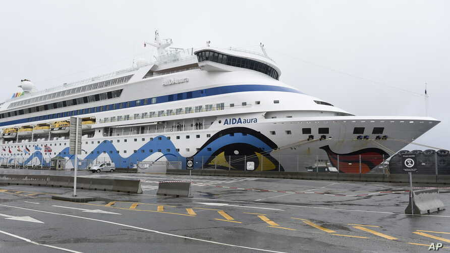 The German cruise ship Aida Aura at the quay in Haugesund, Norway, Tuesday March 3, 2020. A German cruise ship with 1,200…
